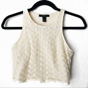 Cream Lace Daisy Floral Crop Top